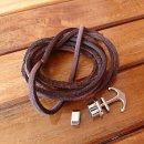 Armband aus geflochtenem Leder mit Edelstahlanker