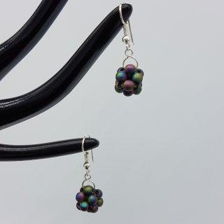 Ohrringe - Regenbogenfarbene Perlenkugel