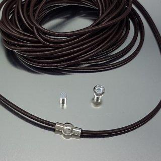 Leder, 3 mm, braun, Magnetverschluss