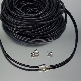 Leder, 3 mm, schwarz, Magnetverschluss