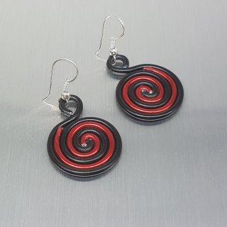 Ohrringe - Schwarz-rote Schnecke